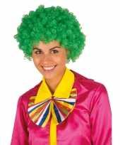 Goedkope clownspruik groene krulletjes verkleed accessoire