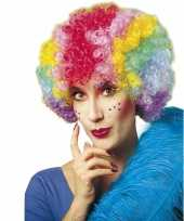 Goedkope clownspruik regenboog kleuren