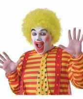 Goedkope gele clownspruik volwassenen