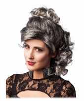 Goedkope grijs zwarte half lange haren pruik krullen