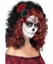 Goedkope halloween day of the dead pruik roos