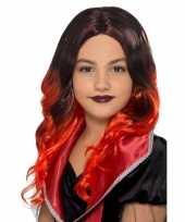 Goedkope halloween lange zwart rode meisjespruik krullen