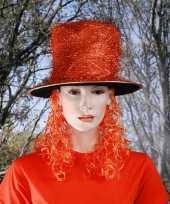 Goedkope hoed pruik oranje