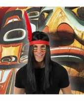 Goedkope indianen verkleed pruik veer heren
