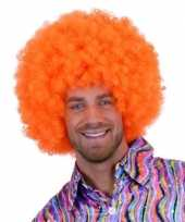 Goedkope oranje krulletjes pruik neon 10108553
