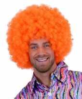 Goedkope oranje krulletjes pruik neon