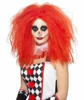 Goedkope rode luxe clownspruik xl volwassenen