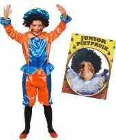 Goedkope set blauw oranje kids jr pietenpak pruik 10173362